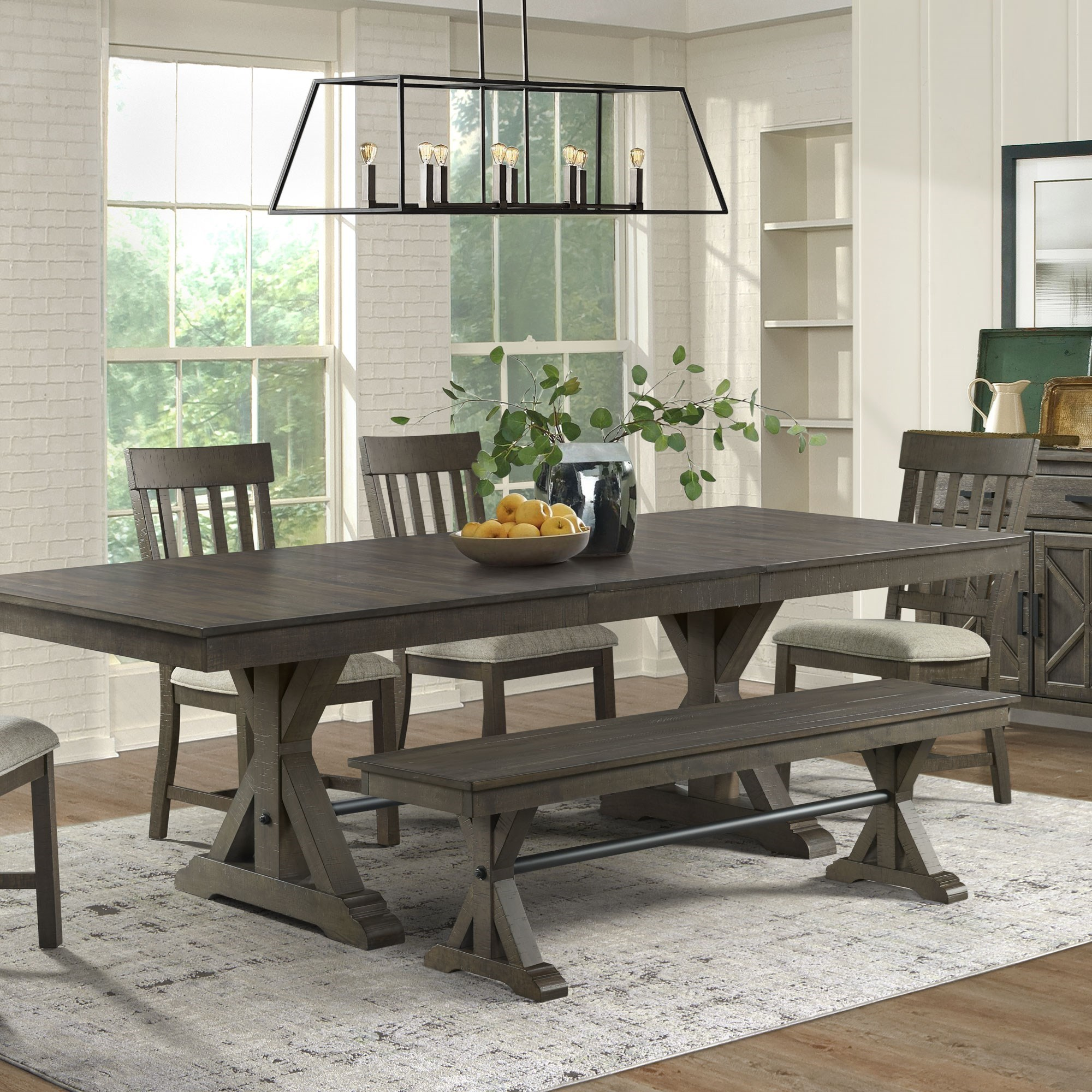 Image of: Intercon Sullivan Farmhouse Table And Chair Set With Bench Rife S Home Furniture Table Chair Set With Bench