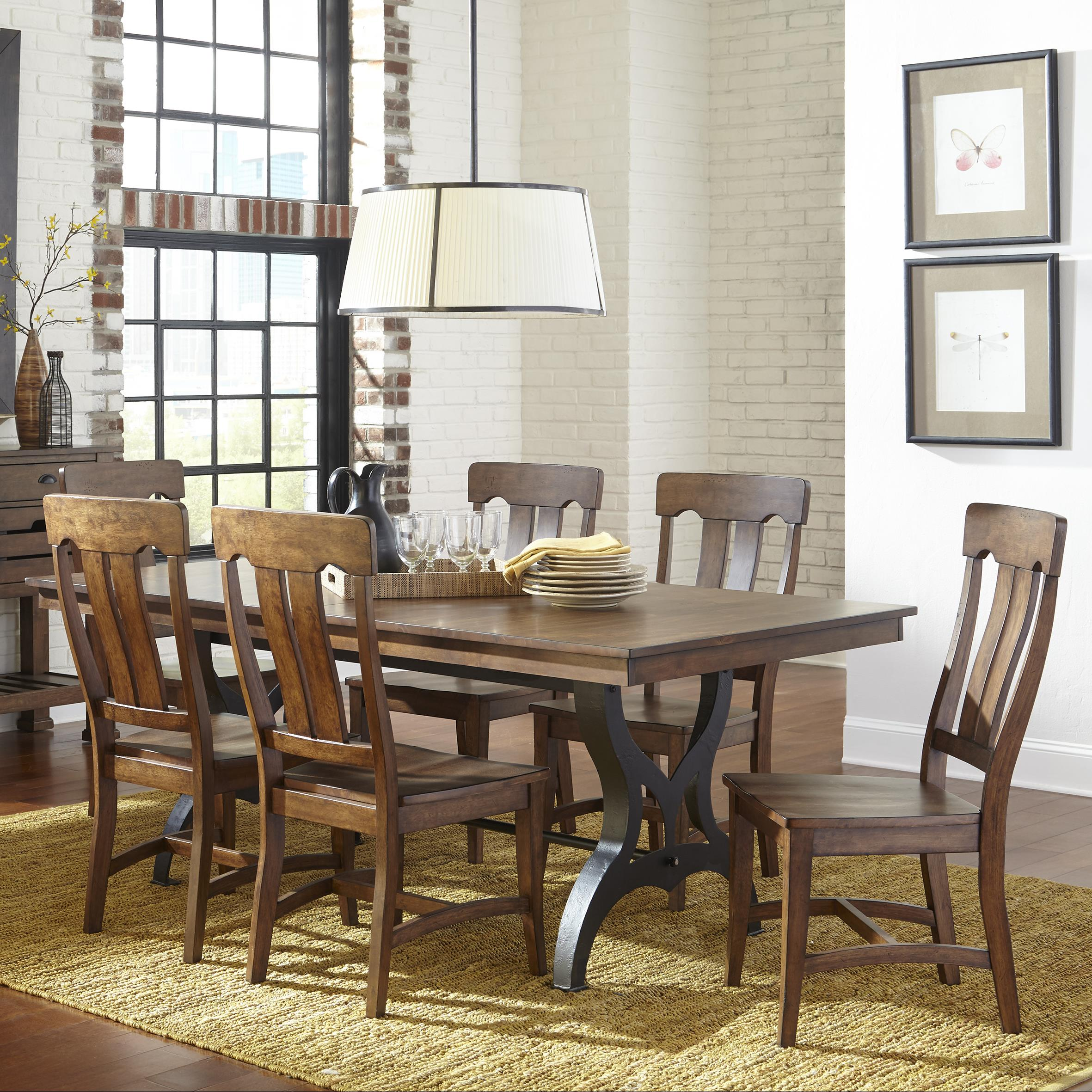 Intercon The District 7 Piece Table Chair Set With Leaf Wayside Furniture Dining 7 Or