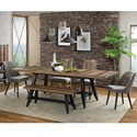 Intercon Urban Rustic  6 Piece Table and Chair Set with Bench - Item Number: UR-TA-42100-BWH-C+2x970C+4816B+2x46