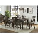 Intercon Whiskey River  5 Piece Table and Chair Set - Item Number: WY-TA-4278-GPG-C+4xCH-925W-GPG-RTA