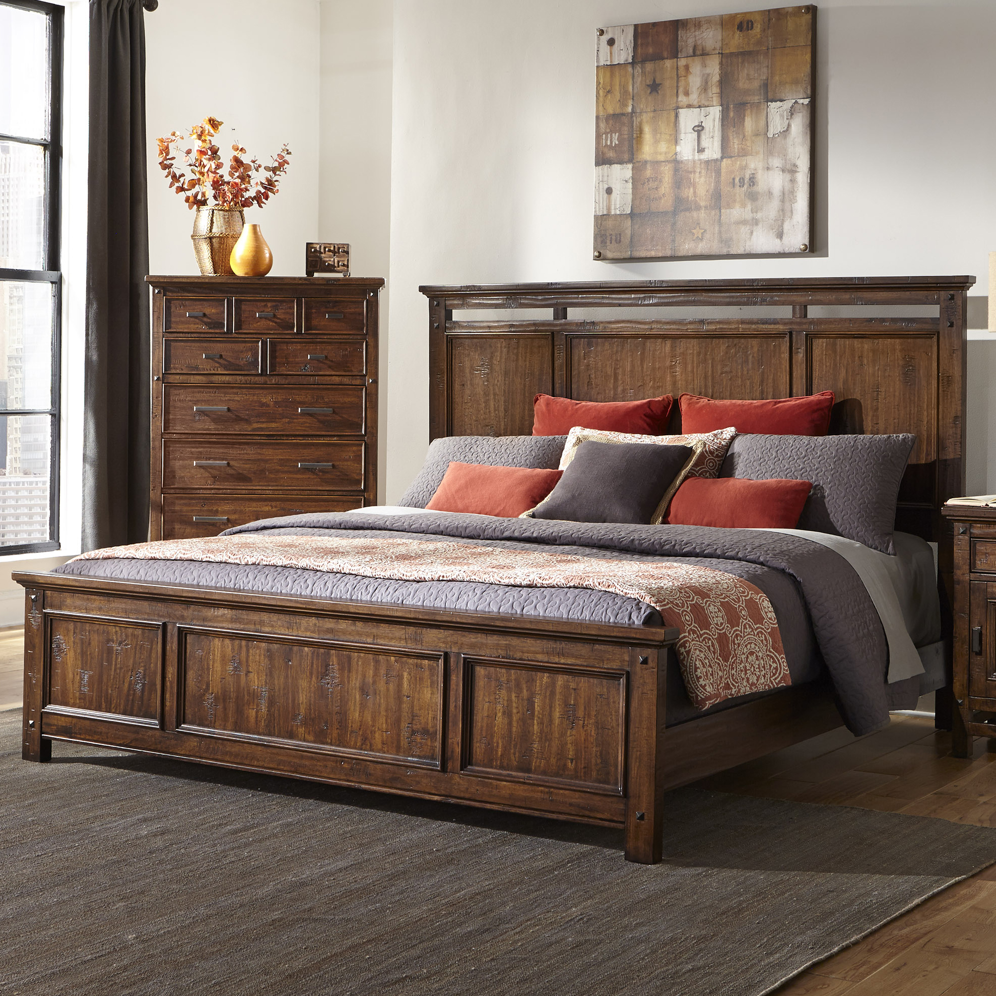 Wolf Creek Queen Panel Bed by Intercon at Fisher Home Furnishings