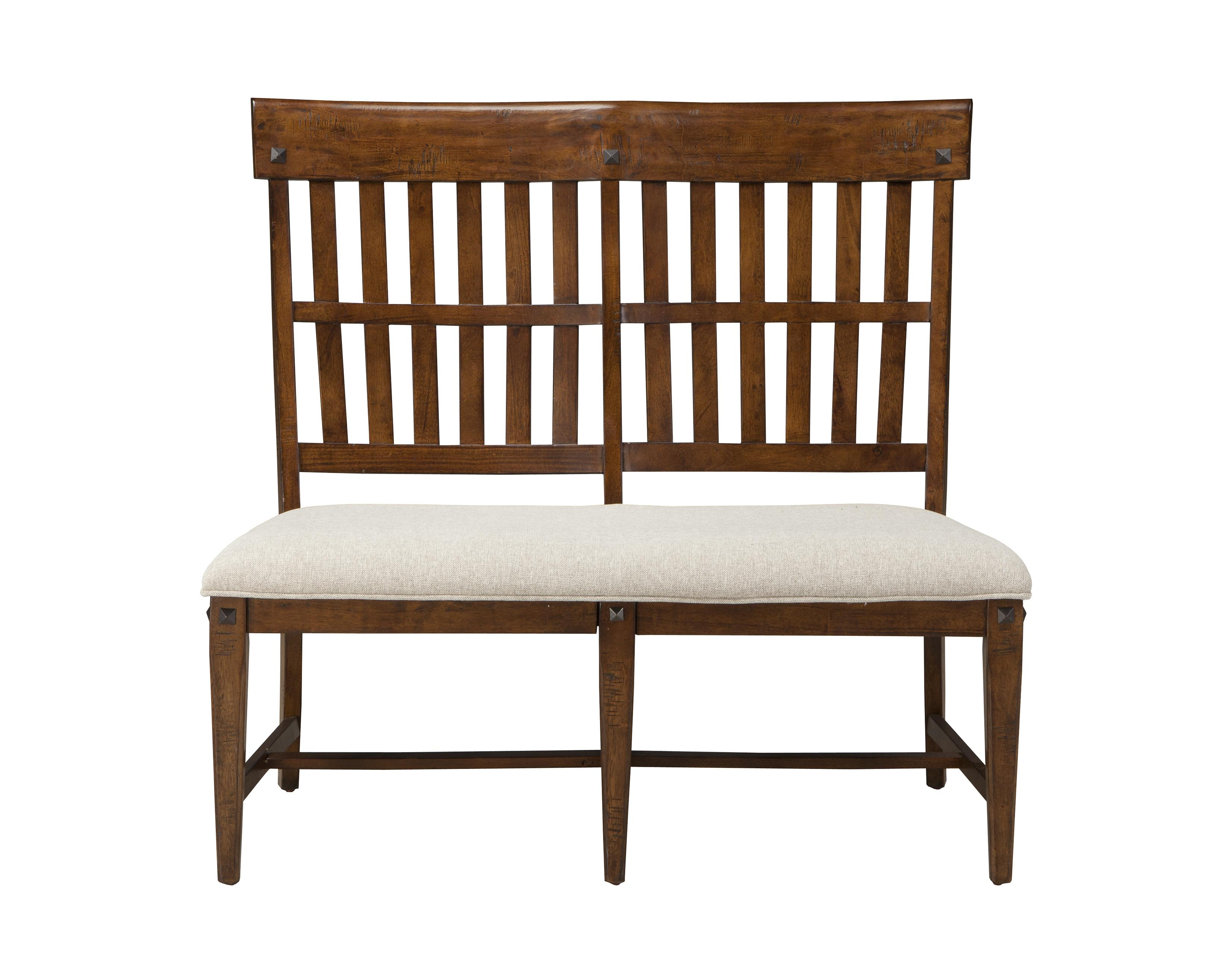 Intercon Wolf Creek Slat Back Dining Bench With Upholstered Seat Wayside Furniture Dining