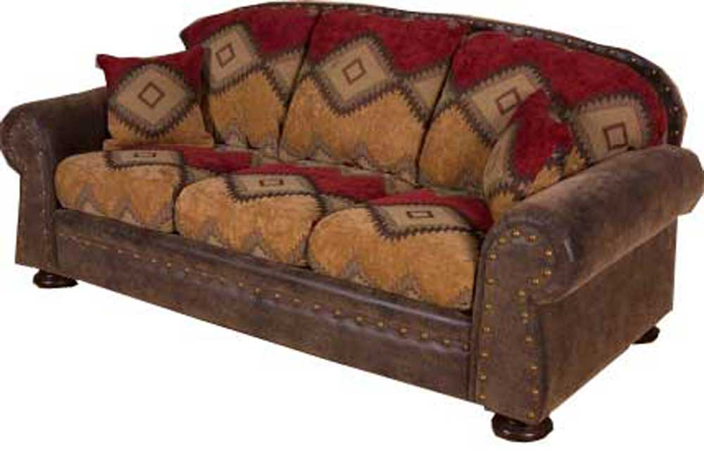 Southwestern Sofas Western Rancher Style Leather Sofa