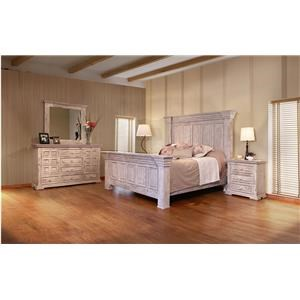 International Furniture Direct 1022 Terra White King Bed, Dresser, Mirror and Nightstand