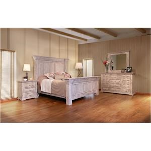 International Furniture Direct 1022 Terra White Queen Bed, Dresser, Mirror and Nighstand
