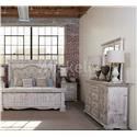 International Furniture Direct 1022 Terra White King Bed, Dresser, Mirror and Nightstand - Item Number: IFD1024 KG B+D+M+NS