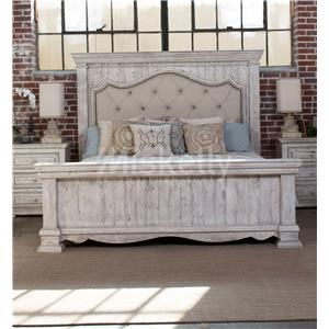 International Furniture Direct 1022 Terra White Queen Bed