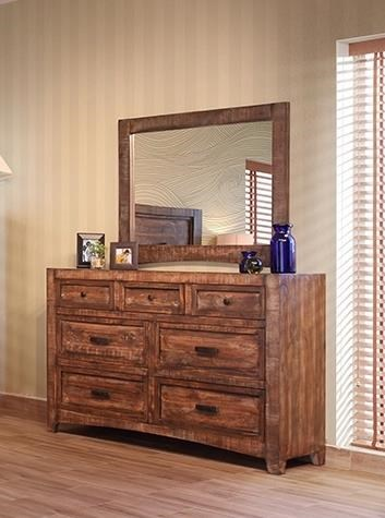 International Furniture Direct Porto 7 Drawer Dresser & Mirror - Item Number: IFDI-GRP-IFD2020-DRM