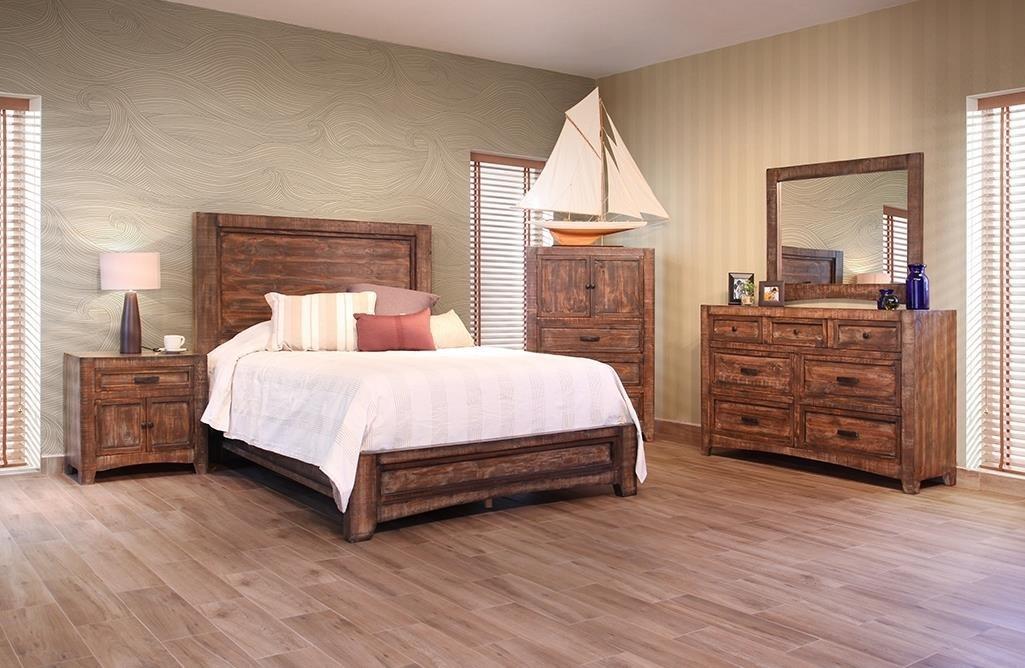 International Furniture Direct Porto Queen Bed, Dresser, Mirror & Nightstand - Item Number: IFDI-GRP-IFD2020-QUEENSUITE