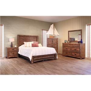 International Furniture Direct Porto Queen Bed, Dresser, Mirror & Nightstand