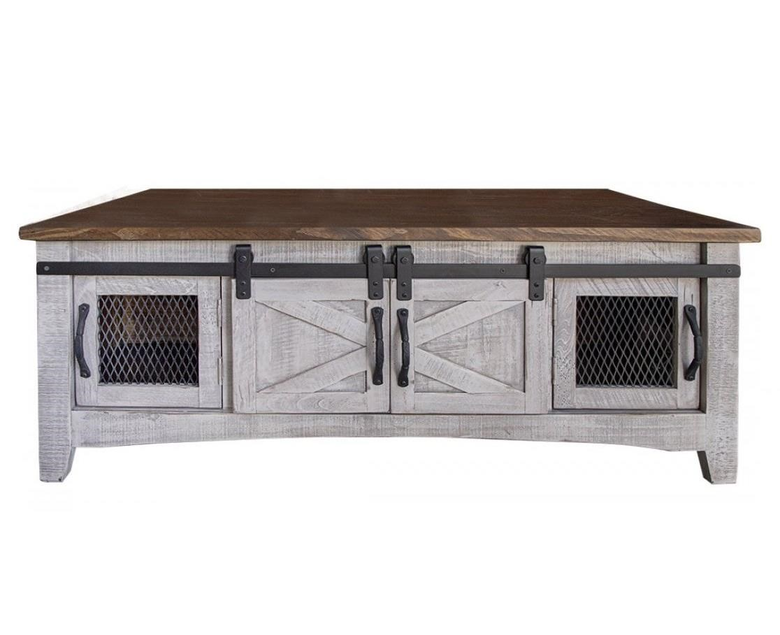 Pueblo Cocktail Table with 8 Doors by International Furniture Direct at Godby Home Furnishings