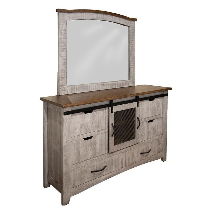Pueblo Dresser and Mirror by International Furniture Direct at Catalog Outlet