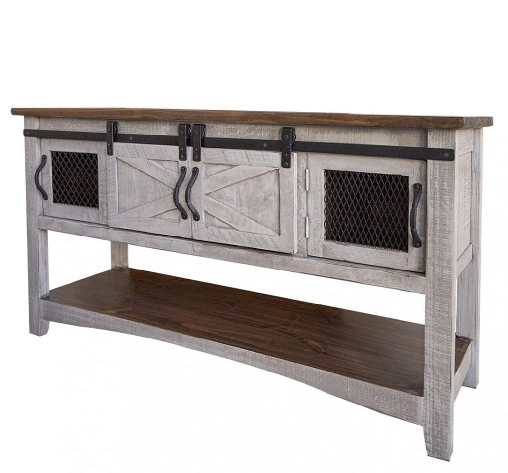 Pueblo Sofa Table with 4 Doors at Sadler's Home Furnishings