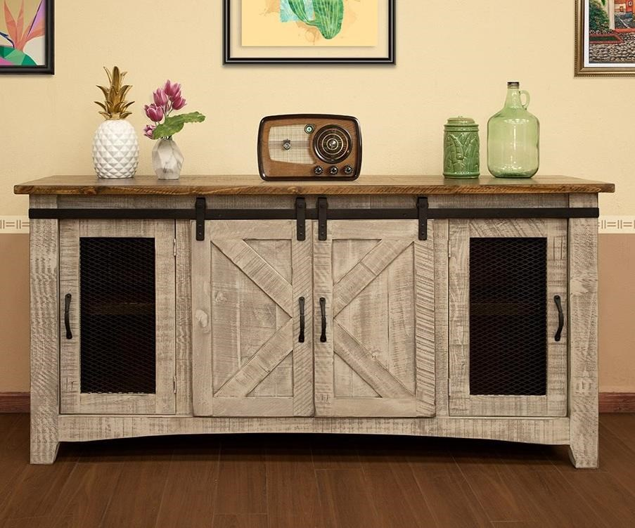 "Pueblo 70"" TV Stand with 4 Doors by International Furniture Direct at Godby Home Furnishings"