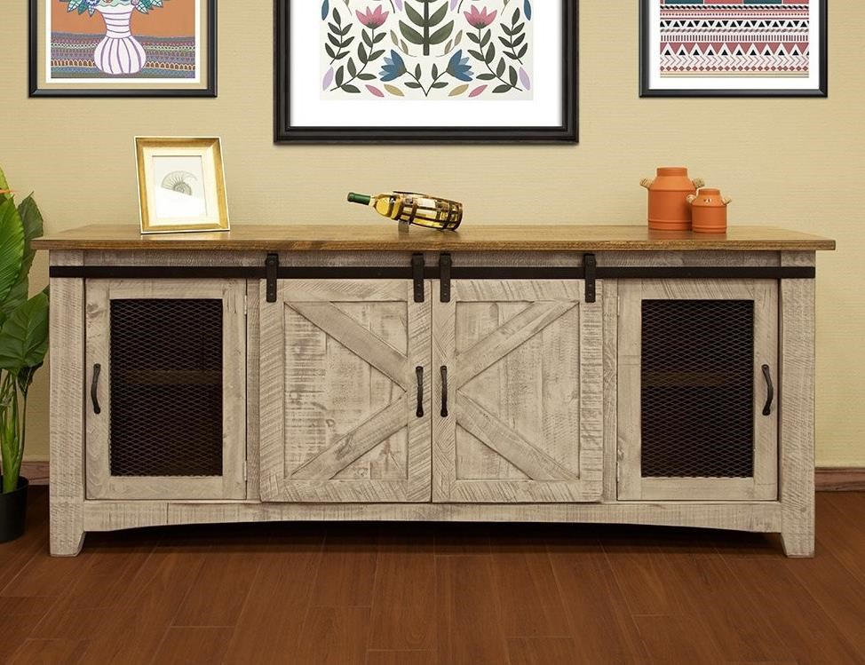 "Pueblo 80"" TV Stand with 4 Doors by International Furniture Direct at Godby Home Furnishings"