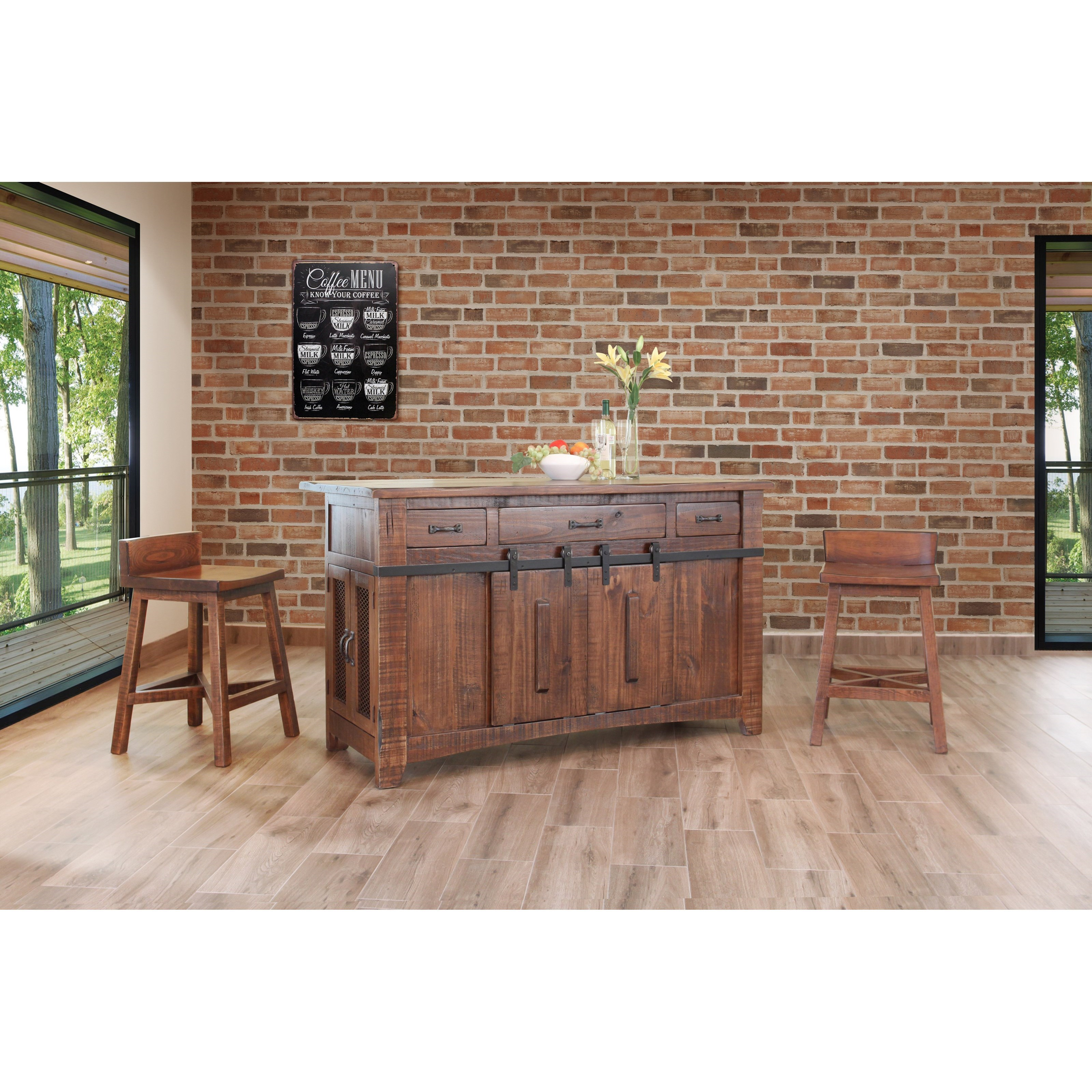 International Furniture Direct Pueblo Kitchen Island With Sliding Doors H L Stephens