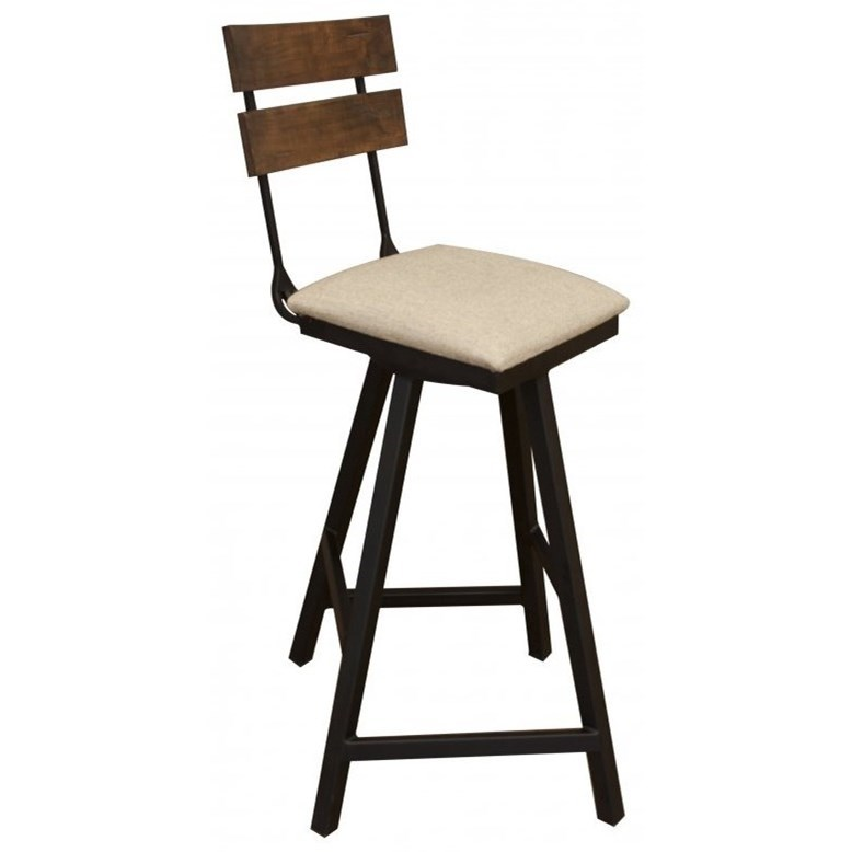 Pueblo Swivel Barstool w/ Fabric Seat & Iron Base by International Furniture Direct at Zak's Home