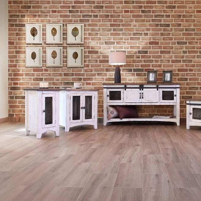 International Furniture Direct Pueblo Ifd360cst W Rustic Chairside Table With Mesh Panel Door