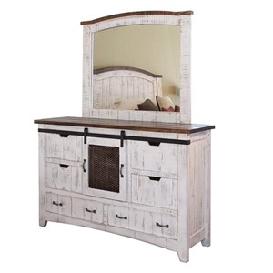 International Furniture Direct Pueblo Dresser and Mirror Set