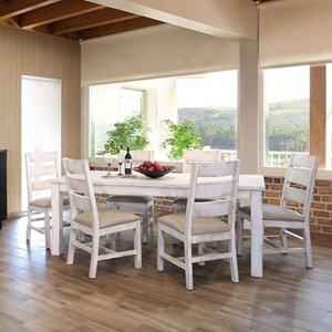 International Furniture Direct Pueblo Table and Six Chair Set