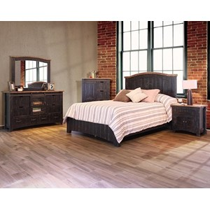 International Furniture Direct Pueblo Black Queen Bedroom Group