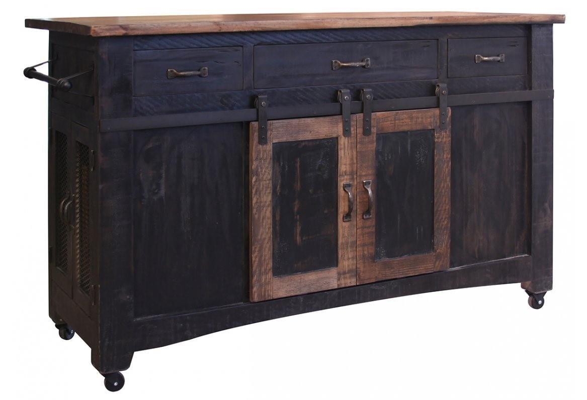 International Furniture Direct Pueblo Black Kitchen Island - Item Number: IFD370-ISLAND
