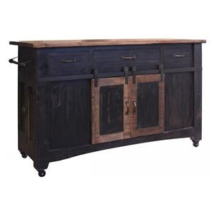 International Furniture Direct Pueblo Black Kitchen Island