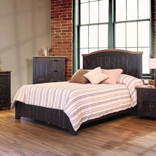 International Furniture Direct Pueblo Cal King Bed - Item Number: IFD370HDBD-EK+PLTFRM-CK