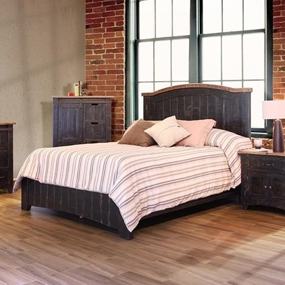 International Furniture Direct Pueblo King Bed - Item Number: IFD370HDBD-EK+PLTFRM-EK