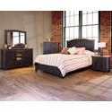 International Furniture Direct Pueblo Panel King Bed with Plank Design