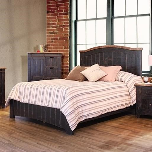 International Furniture Direct Pueblo Queen Bed - Item Number: IFD370HDBD-Q+PLTFRM-Q