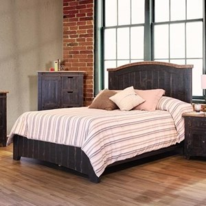 International Furniture Direct Pueblo Black Queen Bed