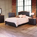 International Furniture Direct Pueblo Panel Queen Bed with Plank Design