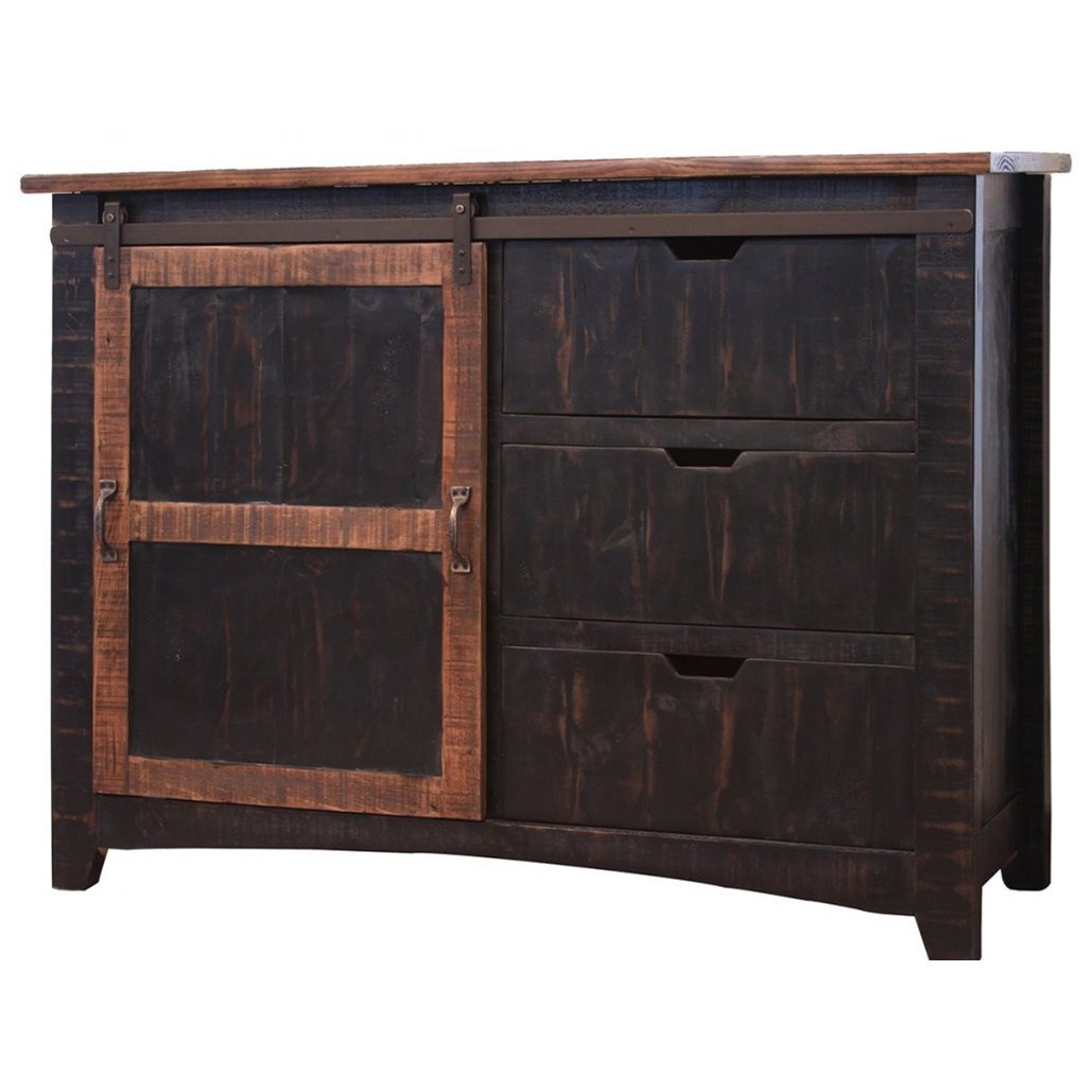 International Furniture Direct Pueblo Chest w/ 3 Drawers & 1 Sliding Door - Item Number: IFD371CHEST