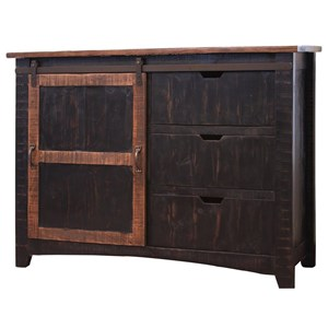 International Furniture Direct Pueblo Chest w/ 3 Drawers & 1 Sliding Door
