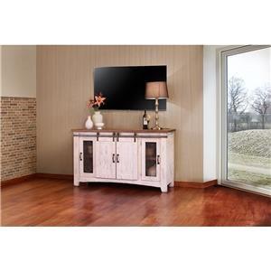 """International Furniture Direct PUEBLO WHITE 60"""" TV Stand"""