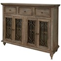 International Furniture Direct San Angelo Console with 3 Drawers and 4 Glass Doors - Item Number: IFD3801CNS