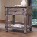 International Furniture Direct San Angelo Rustic Solid Wood 1 Drawer End Table