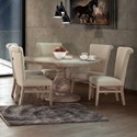 International Furniture Direct Bonanza Sand 6 Piece Table and Chair Set - Item Number: IFD410RND-T+B+5xCHAIR