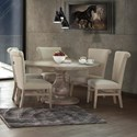 International Furniture Direct Bonanza Sand 6 Piece Table and Chair Set - Item Number: IFD410RND-T2+B+5xCHAIR