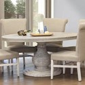 International Furniture Direct Bonanza Ivory Round Dining Table with Turned Pedestal Base