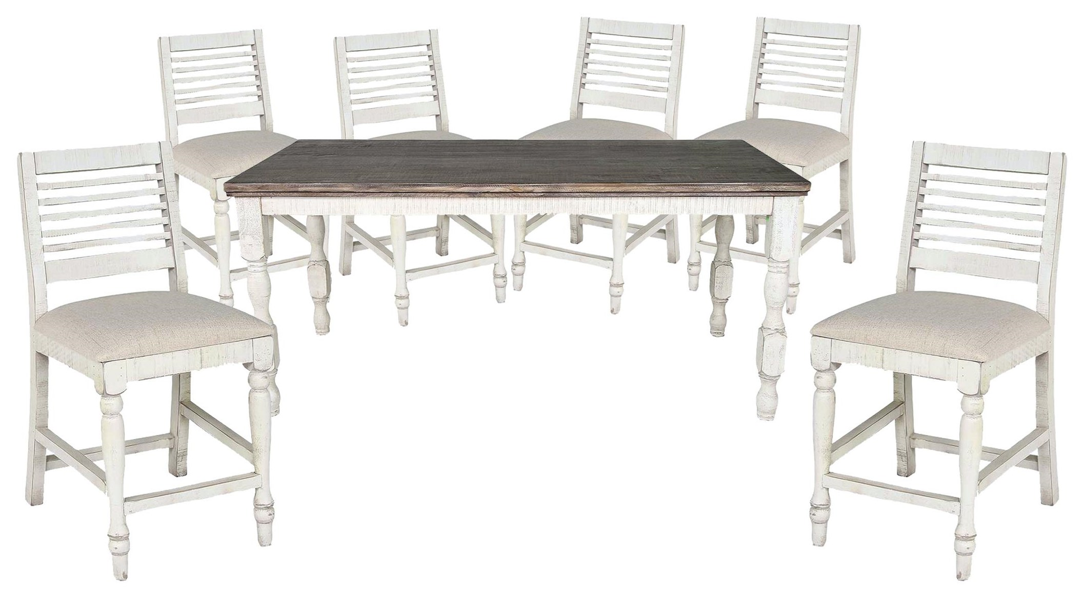 Stone Counter Height Table and 6 Stools by International Furniture Direct at Johnny Janosik