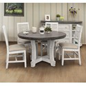 International Furniture Direct Stone 5-Piece Dining Set - Item Number: IFD4300RNDTPST+BA+4x4680CHR