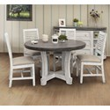 International Furniture Direct Stone 5-Piece Dining Set - Item Number: IFD4300RNDTPST+BA+4x4690CHRIV