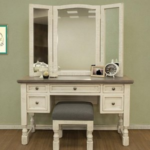 Vanity, Mirror, and Stool Set