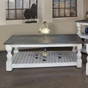 International Furniture Direct Stone Transitional Solid Wood Cocktail Table
