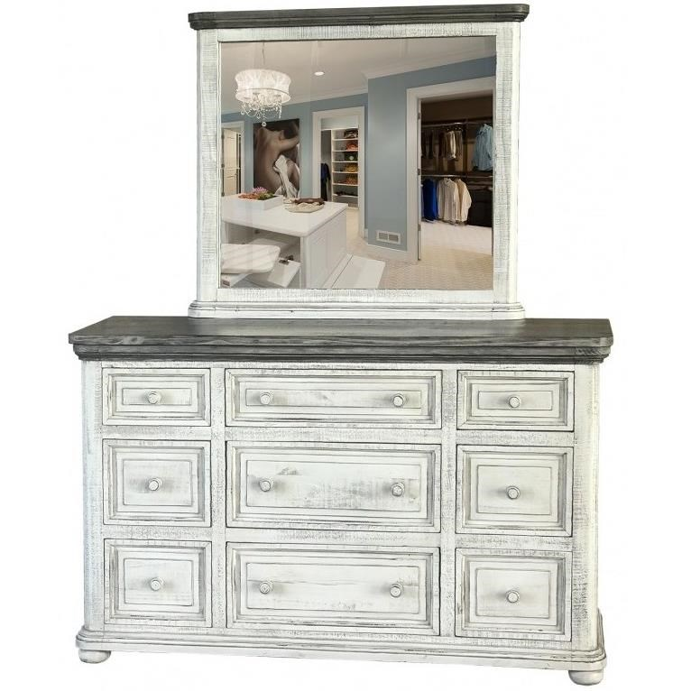 768 Luna Dresser and Mirror by International Furniture Direct at Sparks HomeStore