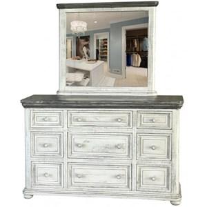 International Furniture Direct 768 Luna Dresser and Mirror