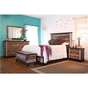 International Furniture Direct Antique 4-Piece King Bedroom Set