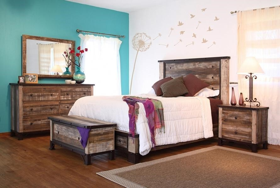 International Furniture Direct Antique 4-Piece Queen Bedroom Set - Item Number: B17966-Q4PC